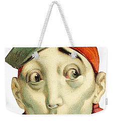 Weekender Tote Bag featuring the digital art Who Me? by ReInVintaged