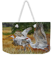 Sandhill Cranes In A Field Weekender Tote Bag by Phyllis Beiser