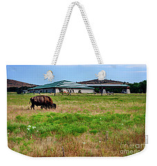 Wichita Mountain Wildlife Reserve Welcome Center I Weekender Tote Bag by Tamyra Ayles