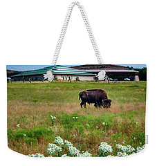 Wichita Mountain Wildlife Reserve Welcome Center Verticle Weekender Tote Bag by Tamyra Ayles