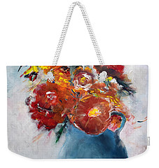 Wide-eyed Flowers In A Blue Pot Weekender Tote Bag