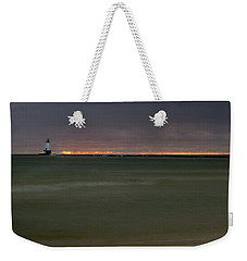 Wide View Of Lighthouse And Sunset Weekender Tote Bag