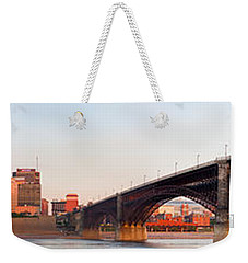 Wide View Of St Louis And Eads Bridge Weekender Tote Bag by Semmick Photo