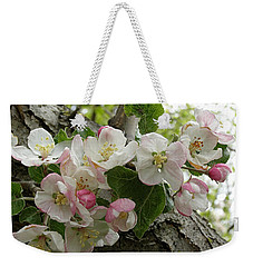 Weekender Tote Bag featuring the photograph Wild Apple Blossoms by Angie Rea