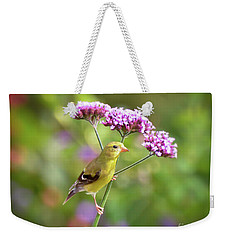 Weekender Tote Bag featuring the photograph Wild Birds - Female Goldfinch by Kerri Farley