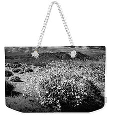 Weekender Tote Bag featuring the photograph Wild Desert Flowers Blooming In Black And White In The Anza-borrego Desert State Park by Randall Nyhof