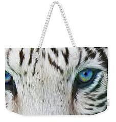 Weekender Tote Bag featuring the mixed media Wild Eyes - White Tiger by Carol Cavalaris