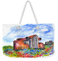 Wild Flower Junk Car Weekender Tote Bag by Clyde J Kell
