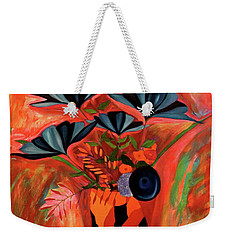 Weekender Tote Bag featuring the painting Wild Flowers  A Still Life  by Iconic Images Art Gallery David Pucciarelli