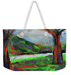 Weekender Tote Bag featuring the painting Wild Flowers On The River Banks by Walter Fahmy
