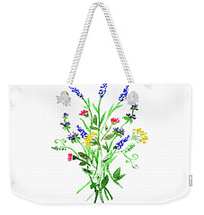 Weekender Tote Bag featuring the painting Wild Flowers Watercolor Design by Irina Sztukowski