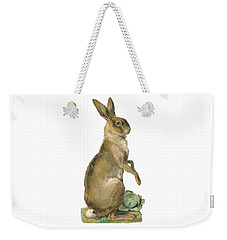 Weekender Tote Bag featuring the digital art Wild Hare by ReInVintaged