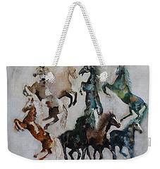 Weekender Tote Bag featuring the painting Wild Horses Are Coming by Barbie Batson