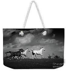 Wild Horses - Black And White Weekender Tote Bag