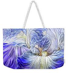 Weekender Tote Bag featuring the mixed media Wild Iris Blue by Carol Cavalaris