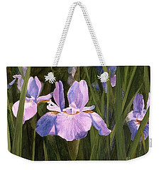 Weekender Tote Bag featuring the painting Wild Iris by Laurie Rohner