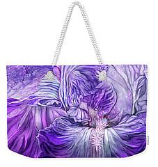 Weekender Tote Bag featuring the mixed media Wild Iris Purple by Carol Cavalaris