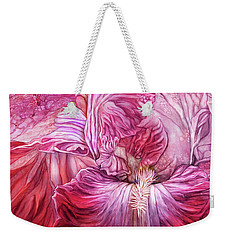 Weekender Tote Bag featuring the mixed media Wild Iris Red by Carol Cavalaris