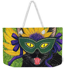 Weekender Tote Bag featuring the painting Wild Mardi Gras Cat by Carrie Hawks