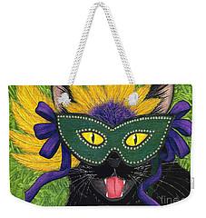 Wild Mardi Gras Cat Weekender Tote Bag by Carrie Hawks