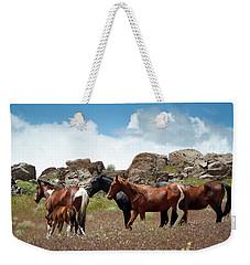 Wild Mustang Herd In The Springtime. Weekender Tote Bag