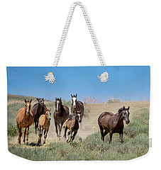 wild mustangs on the run to the water hole in Sand Wash Basin Weekender Tote Bag