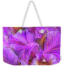 Weekender Tote Bag featuring the mixed media Wild Orchids by Carol Cavalaris