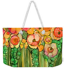 Weekender Tote Bag featuring the mixed media Wild Poppy Garden - Gold by Carol Cavalaris