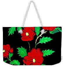 Wild Red Roses Weekender Tote Bag