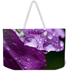 Weekender Tote Bag featuring the photograph Wild Rose Droplet by Darcy Michaelchuk