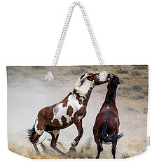 Wild Stallion Battle - Picasso And Dragon Weekender Tote Bag by Nadja Rider