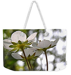 Weekender Tote Bag featuring the photograph Wild Strawberry Blossoms by Angie Rea