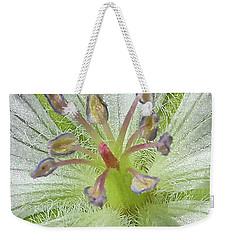 Weekender Tote Bag featuring the photograph Wild White Geranium  by Ann E Robson