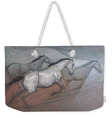 Weekender Tote Bag featuring the painting Wild White Horses by Steve Mitchell