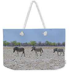 Weekender Tote Bag featuring the photograph Wild Zebra Panoramic by Ernie Echols