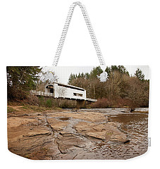 Weekender Tote Bag featuring the photograph Wildcat Bridge In Winter by Mary Jo Allen