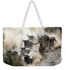 Wildebeest Herd Crossing The Mara River Weekender Tote Bag