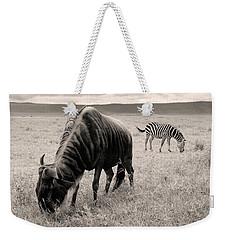 Wildebeest And Zebra Weekender Tote Bag