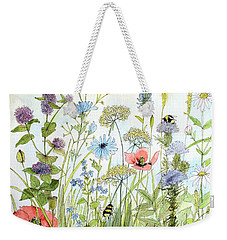 Wildflower And Bees Weekender Tote Bag by Laurie Rohner