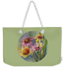 Weekender Tote Bag featuring the painting Wildflowers by Mary Wolf