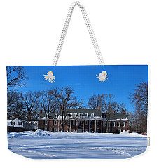 Weekender Tote Bag featuring the photograph Wildwood Manor House In The Winter by Michiale Schneider