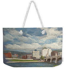 Weekender Tote Bag featuring the painting Wilkes-barre And River by Christina Verdgeline