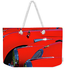 Weekender Tote Bag featuring the photograph Will The Owner Of The Red Car by John Schneider