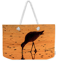 Weekender Tote Bag featuring the photograph Willet On Sunrise Surf by Steven Sparks
