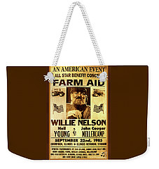 Willie Nelson 1985 Vintage Farm Aid Poster Weekender Tote Bag