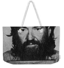 Willie Nelson Mug Shot Vertical Black And White Weekender Tote Bag