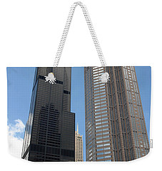Willis Tower Aka Sears Tower And 311 South Wacker Drive Weekender Tote Bag by Adam Romanowicz