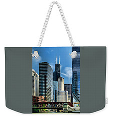 Willis Tower, Skyline And Chicago River On A Sunny Day  Weekender Tote Bag