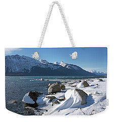 Wind Sculpted Snow By The Chilkat Inlet Weekender Tote Bag