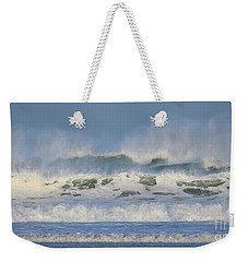 Weekender Tote Bag featuring the photograph Wind Swept Waves by Nicholas Burningham